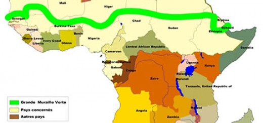 A map showing the extend of the Great Green Wall of Africa. Image from treehugger.com
