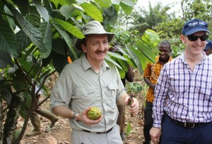 Mr Grant Reid, President, Mars Chocolate (holding a cocoa pod) and Mr Peter West, President–Europe Region, Mars Chocolate, admire grafted cocoa fruits on a demonstration subplot Mr Kouame's farm in Petit Bondoukou. Photo by Claude Adjehi/ICRAF
