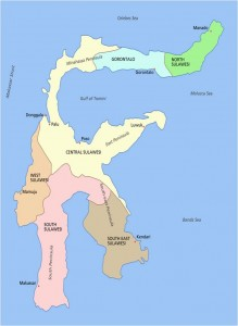 Map of Sulawesi island