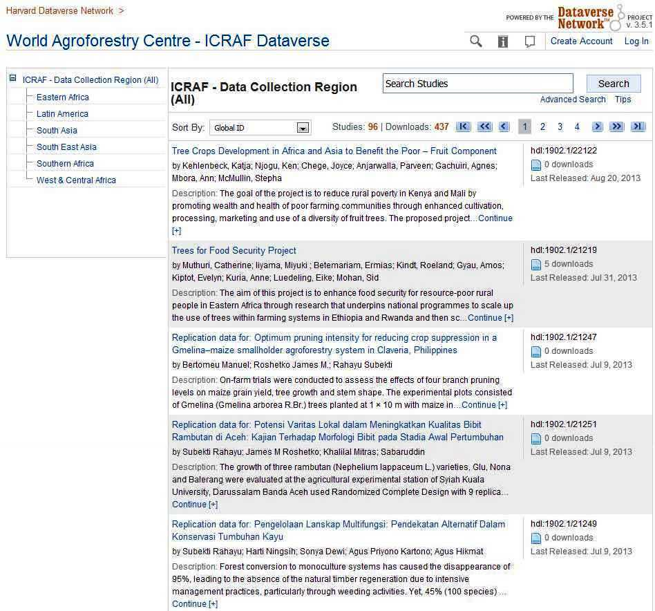 World Agroforestry Centre - ICRAF Dataverse - Harvard Dataverse Network