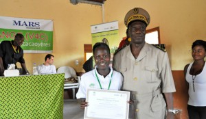 Hélène and Elyse, the first two women to graduate as cocoa village centre operators, are all smiles at the CVC graduation ceremony on 23 May 2014. Photo by Claude Adjehi/ICRAF
