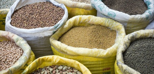 Sacks of pulses in a market in Kathmandu, Nepal. Photo courtesy of Didi via Flikr