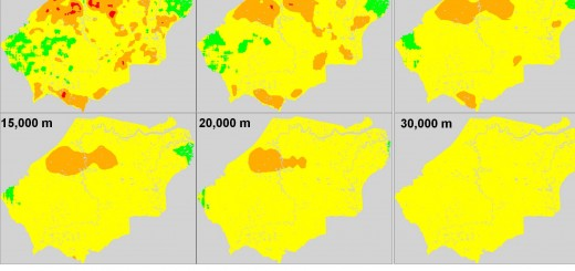 The effect of scale on hot spots of carbon emissions in Tanjung Jabung Barat, Jambi, Indonesia, between 2000 and 2009. Pixel resolution of 100 m equals pixel area of 1 ha and pixel resolution of 1000 m equals pixel area of 1 km2. Source: World Agroforestry Centre