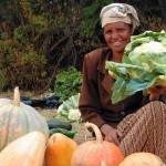 Woman selling vegetables at roadside market in Ethiopia. Photo by Tumuluru Kumar/IFPRI via Flikr