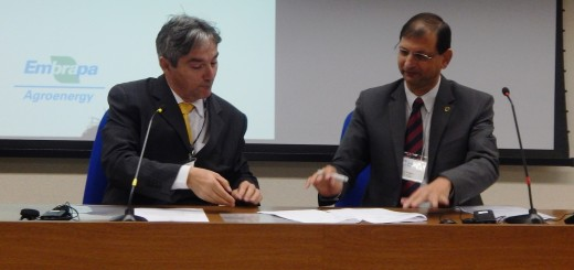 Manoel Teixeira de Souza, head of agroenergy for the Brazilian Agricultural Research Corporation (Embrapa) (left) and Ravi Prabhu, ICRAF deputy director general for research, sign the cooperation agreement between Embrapa and ICRAF