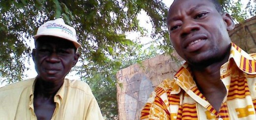 Dr. Issa Ouedraogo (right) with a farmer in Cassou, Burkina Faso