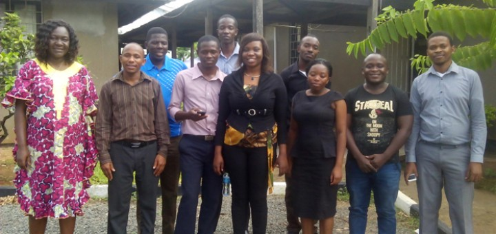 Jeanne Coulibaly (front left) and Joash Mango (first person, back row) with enumerators during their training. Photo: World Agroforestry Centre