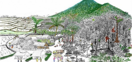 Landscape as a gradient from rice fields to village, agroforest and remaining natural forest in North Sumatra; the drawing was developed jointly with villagers to emphasize conservation options other than eviction of villages and creating a national park.