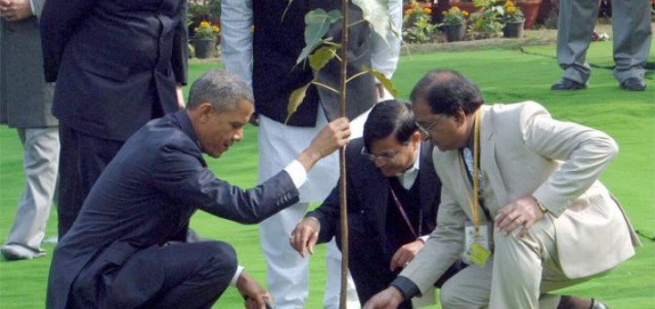 US President Obama-plants a Ficus sapling at Rajghat, India, 25 January 2015
