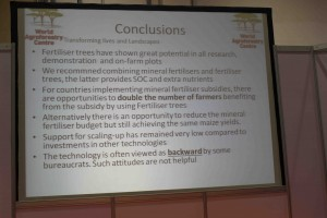 Isaac Nyoka's conclusions on Evergreen agriculture. GFIA 2015. Photo by Daisy Ouya/ICRAF