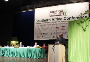 Hon. Dr Allan Chiyembezkeza, Minister of Agriculture, Malawi, opened the conference. Photo by Daisy Ouya/ICRAF