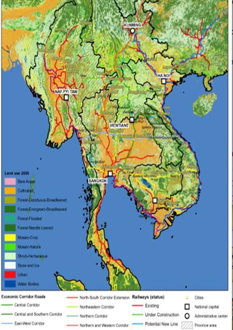 ASEAN, infrastructure, development, land use, map
