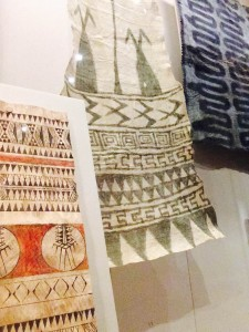 Bark cloth at the British Museum. The dyes are natural pigments, some made from tree resin.