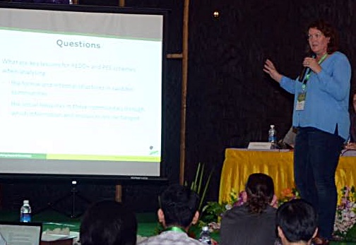 Dr Maria Brockhaus presenting at the 6th ASEAN Social Forestry Network Conference, Inle Lake, Myanmar, 1-3 June 2015. Photo: ASEAN Social Forestry Network