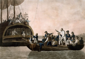 Captain Bligh being cast away from his ship, the Bounty, by a rebellious crew in 1789. He still managed to sail 6,701 km to Timor and reached Jamaica with breadfruit three years later