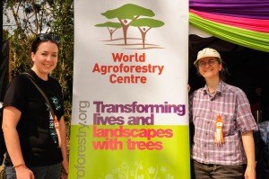 ICRAF scientists Stepha Mcmullin(Left) and Katja Kehlenbeck (right) pose next to the ICRAF stand --Machakos ASK Show 2015. Photo by Danyell Odhiambo/ICRAF