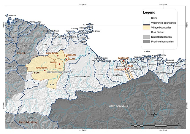 Buol District showing watersheds. Source: World Agroforestry Centre