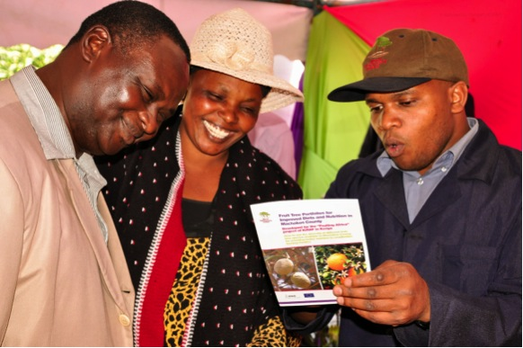 Eric Ng'ethe (Right) explains the principles of the fruit tree portfolio to farmers. Photo by Danyell Odhiambo/ICRAF