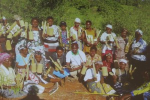 Women in Central Kenya with bamboo and bamboo products. Photo Courtesy of GreenBelt Movement.