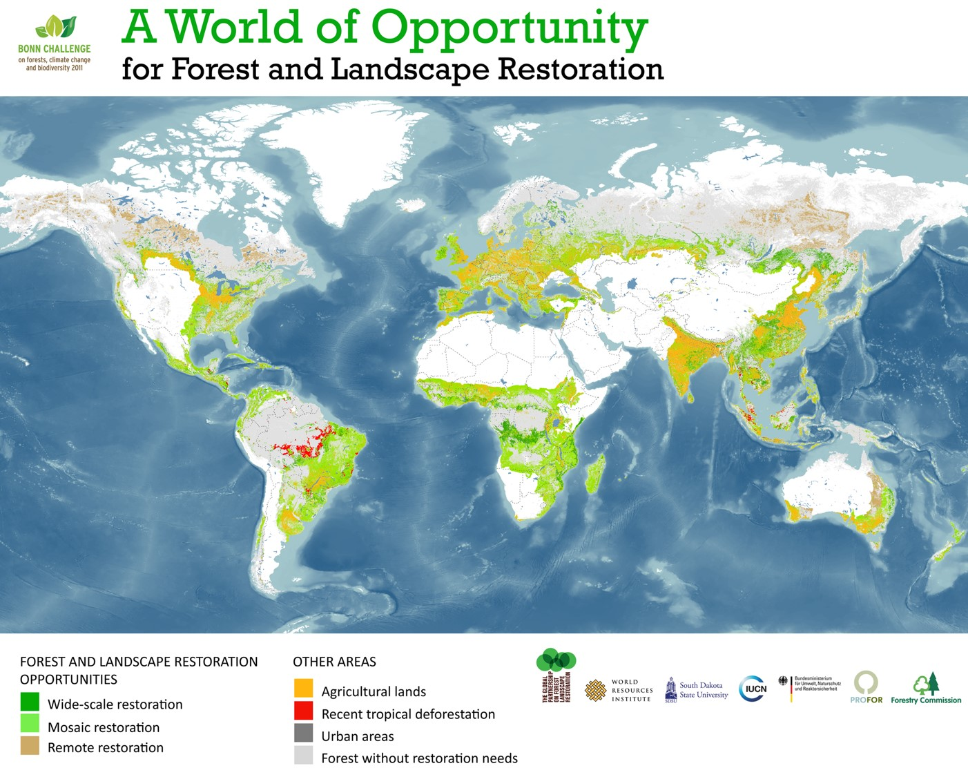 Map of the world's degraded land. Source: Bonn Challenge