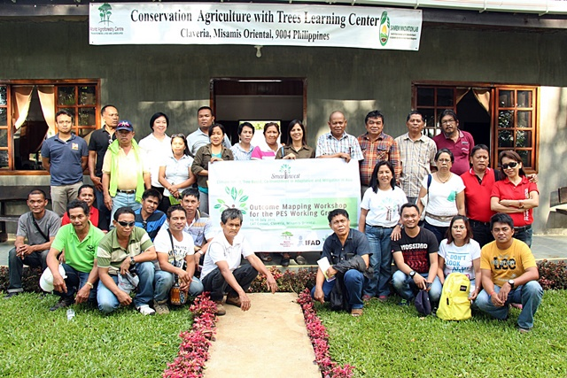 Members of the PWG during the outcome mapping workshop at ICRAF's Conservation Agriculture With Trees Centre in Claveria, Misamis Oriental. Photo: World Agroforestry Centre