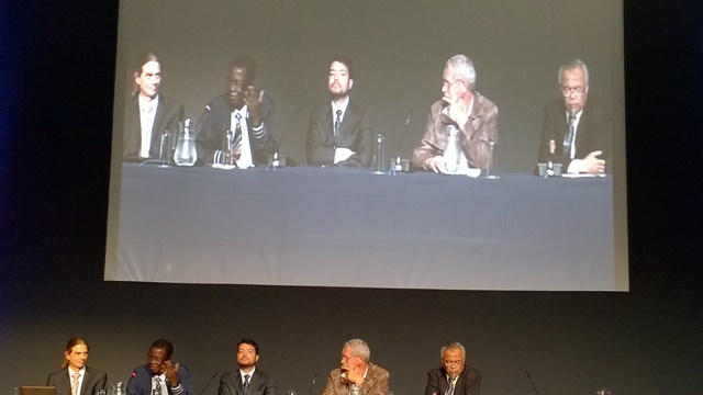 L to R: moderator Stephan A. Pietsch of the International Institute of Applied Systems Analysis; Zac Tjoundjeu; Alexandre Ywata de Carvalho; Coert Geldenhuys; Tachrir Fathoni. Photo: World Agroforestry Centre/Robert Finlayson