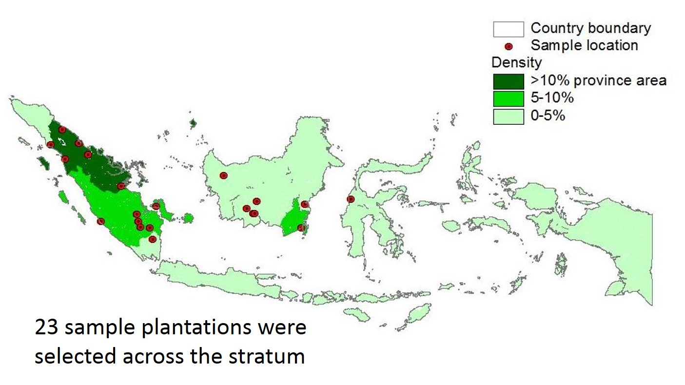 Lifecycle assessment map of 23 oil-palm plantations in Indonesia. Source: World Agroforestry Centre/Khasanah N et al 2012. Brief 25.