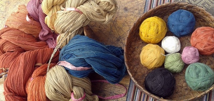 Cotton threads naturally dyed using indigo, turmeric and 'mengkudu' (Morinda citrifelia). Photo: World Agroforestry Centre/Aulia Perdana