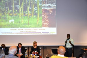 Mary Njenga speaking at on sustainable wood energy production at the Global Landscapes Forum 2015 on the sidelines of the Paris COP21. Photo: ICRAF/Susan Onyango