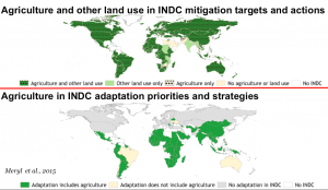 Agriculture and other land use in INDC mitigation targets and actions. Source: Meryl et al., 2015