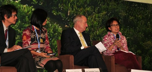 Sonya Dewi discussing the role of agroforestry in Indonesia's green economy at the Paris COP21. Photo ICRAF/Susan Onyango