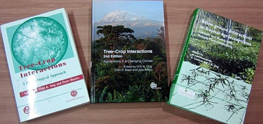 The three tree-crop books. Photo: World Agroforestry Centre/Meine van Noordwijk