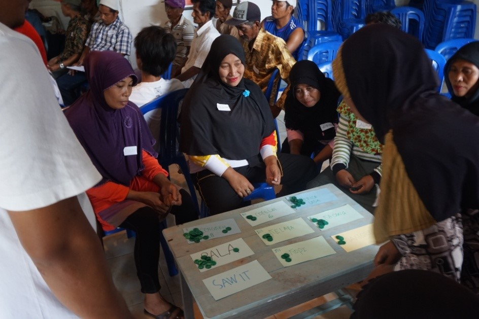 Farmers used a game to help select the trees they wanted the most. Photo: World Agroforestry Centre/Dienda Citasyari Putri Hendrawan