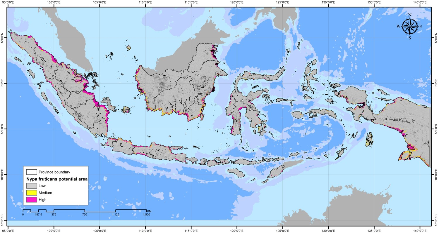 Potential distribution of Nypa fruticans in Indonesia. Source: World Agroforestry Centre