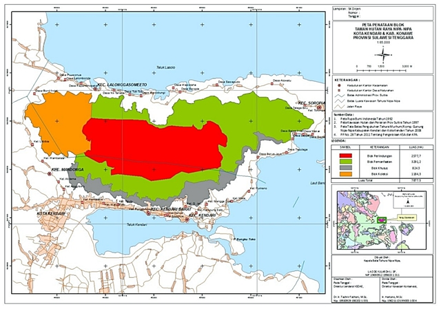 Map of four zones in Nipa-Nipa for economic empowerment: protection zone (red) of 3319.2 ha; utilization zone (green) of 3147.5 ha; plant collection zone (orange) of 699.5 ha; and buffer zone (grey) of 7113 ha. Source: Technical Implementation Unit of Nipa-Nipa Grand Forest Park