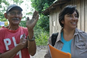 "ICRAF's Jenny Ordonez after returning survey results to farmer Don Virgilio Diaz. The small hholder says ""I planted most of the trees on my farm"". Photo C Watson/ICRAF"