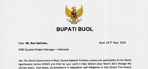 Beginning of the letter from the Bupati Buol to IFAD. Source: Kantor Bupati Buol
