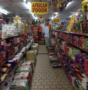 The African foods aisle of a super market in Brixton, UK, an area where many West Africans have settled. Photo by C. Watson/ICRAF