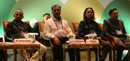 Farmers during the ADB Food Security Forum 2016. From L-R: Reynaldo San Jose from the Philippines, Aynal Haque from Bangladesh, JonJon Sarmiento from the Philippines and Bon Ian Dela Roca from the Sorosoro Ibaba Development Cooperative. Photo: World Agroforestry Centre/Amy Cruz