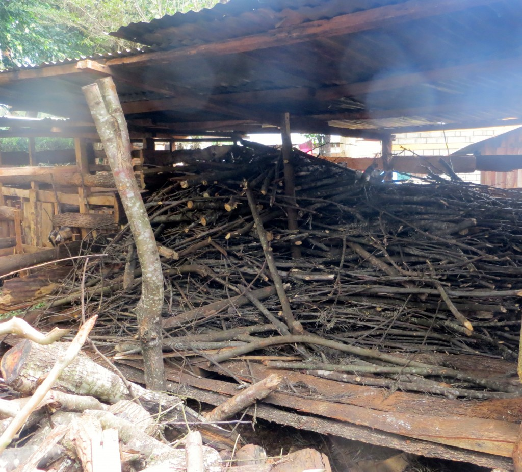 Firewood from Grevilliea prunnings drying in a shed. Photo by Mary Njenga/ World Agroforestry Centre