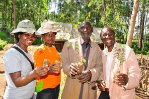 Legume CHOICE project staff pose for a photo with brothers Patrick and Paul Otiso in Kisii County, Kenya. Photo by Danyell Odhiambo/ ICRAF