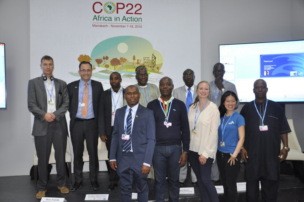 Speakers and panelists at the session on climate technology transfer at the Marrakech COP 22. Photo: World Agroforestry Centre/Susan Onyango