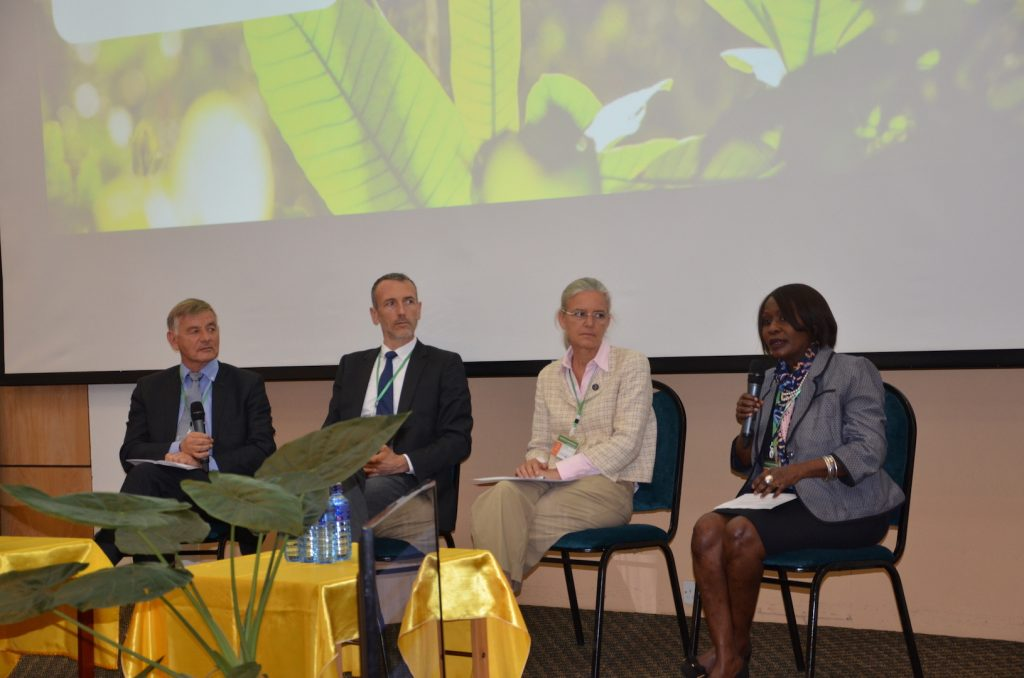Panel discussion. From left: Bernard Giraud (Livelihoods), Emmanuel Faber (CEO, Danone Group), Mette Wilkie (UNEP) and Hon. Judi Wakhungu (Ministry of Environment, Kenya). Photo: World Agroforestry Centre