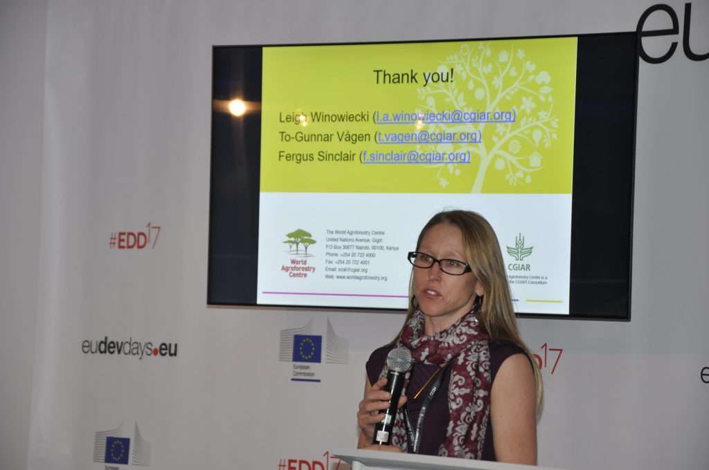 Leigh Winowiecki, soil scientist at ICRAF speaks on The role of sustainable soil management for restoration of degraded land in East Africa and the Sahel. Photo: World Agroforestry Centre/ Susan Onyango