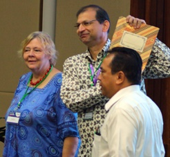L to R: Ingrid Öborn, Ravi Prabhu and Agus Fahmuddin with the renewed memorandum of understanding between the Government of Indonesia and the World Agroforestry Centre. Photo: World Agroforestry Centre