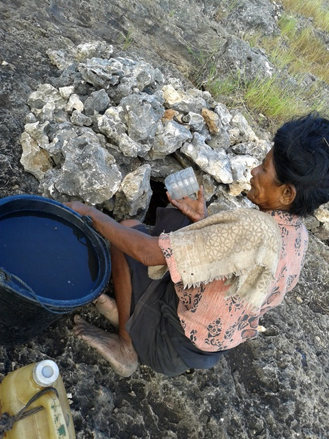 Drawing water from stone. Photo: World Agroforestry Centre/Elok Mulyoutami