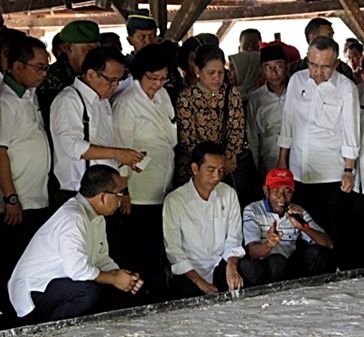 President Joko Widodo inspects sago production at Sungai Tohor. Photo: Efendi bin Sulaiman